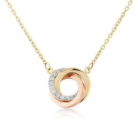 9ct Three Colour Gold Cubic Zirconia Pendant Necklace