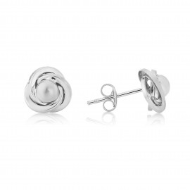 9ct White Gold Knot And Ball Stud Earrings