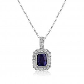 18ct White Gold Sapphire & Diamond Surround Pendant Necklace