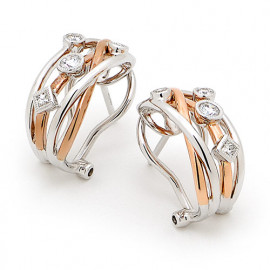 18ct Rose and White Gold Diamond Earrings