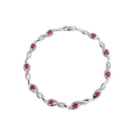 9ct White Gold Diamond Oval Ruby Bracelet