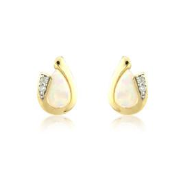 9ct Yellow Gold Opal & Diamond Curl Earrings