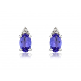 9ct White Gold Diamond & Tanzanite Oval Earrings