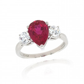 9ct White Gold Cubic Zirconia & Created Ruby Ring
