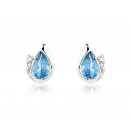 9ct White Gold Blue Topaz & Diamond Curl Earrings