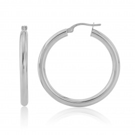 9ct White Gold Large Hoop Earrings