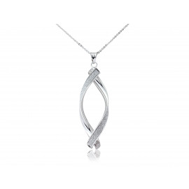 9ct White Gold Glitter Twirl Pendant Necklace