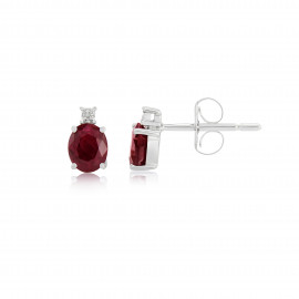9ct White Gold Ruby & Diamond Earrings