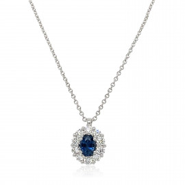18ct White Gold Diamond and Sapphire Cluster Pendant Necklace