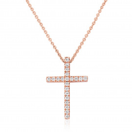 18ct Rose Gold Diamond Cross Pendant Necklace