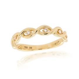 18ct Yellow Gold Diamond Twist Ring