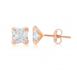 9ct Rose Gold Cubic Zirconia Stud Earrings