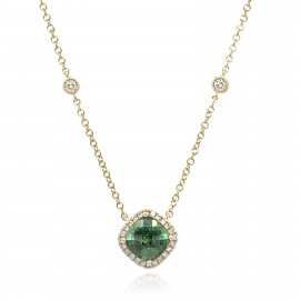 9ct Yellow Gold Diamond & Green Tourmaline Pendant Necklace