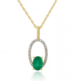 9ct Yellow Gold Diamond & Emerald Halo Pendant Necklace