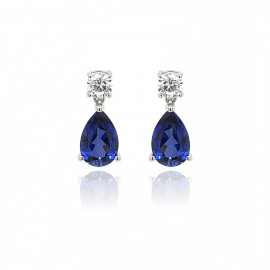 9ct White Gold Cubic Zirconia & Created Sapphire Earring