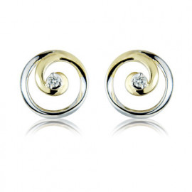 9ct Yellow And White Gold Diamond Swirl Earrings