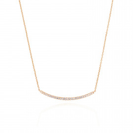 18ct Yellow Gold Diamond Curved Bar Necklace