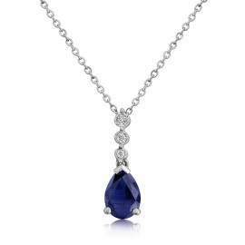 9ct White Gold Sapphire & Sapphire Drop Pendant Necklace