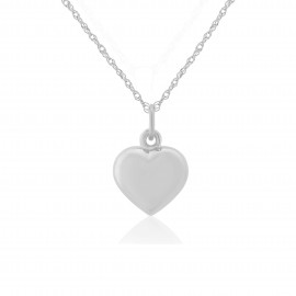 9ct White Gold Puffed Heart Pendant Necklace (small)
