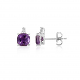 9ct White Gold Diamond & Amethyst Earrings