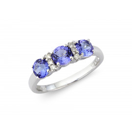 9ct White Gold Diamond & Tanzanite Ring