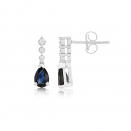 9ct White Gold Diamond & Sapphire Earrings