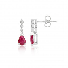 9ct White Gold Diamond & Ruby Drop Earrings
