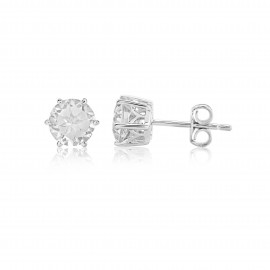 9ct White Gold Rock Crystal Stud Earrings