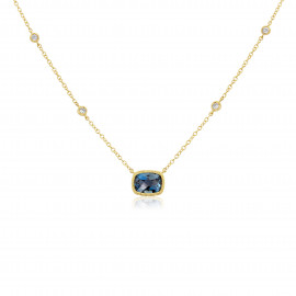 9ct Yellow Gold Diamond & Blue Topaz Necklace