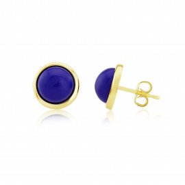 9ct Yellow Gold Lapis Stud Earrings