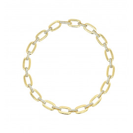 9ct Yellow Gold & Diamond Alternating Bracelet