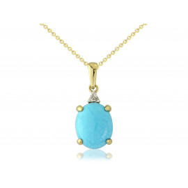9ct Yellow Gold Diamond & Turquoise Oval Pendant Necklace