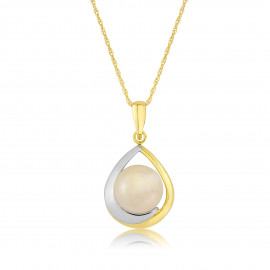 9ct Yellow Gold Pearl Tear Drop Pendant Necklace