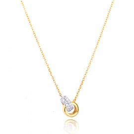 18ct Yellow & White Gold Diamond Double Ring Necklace