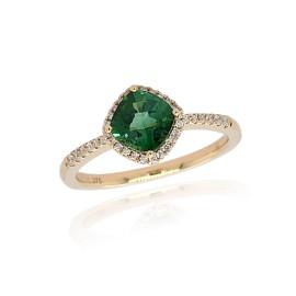 9ct Yellow Gold Diamond & Tourmaline Ring