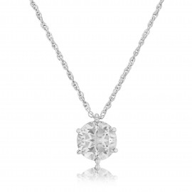 9ct White Gold Rock Crystal Pendant Necklace