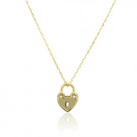 9ct Yellow Gold Padlock Heart Necklace