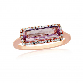 9ct Rose Gold Diamond & Rose De France Ring