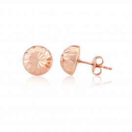 9ct Rose Gold Diamond Cut Half Ball Stud Earrings
