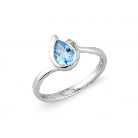 9ct White Gold Diamond Blue Topaz Pear Ring