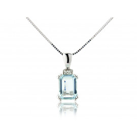 9ct White Gold Diamond & Aquamarine Pendant Necklace