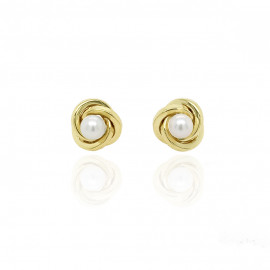 9ct Yellow Gold Culture Pearl Knot Earring