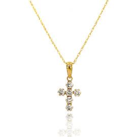 9ct Yellow Gold Cubic Zirconia Cross Pendant Necklace