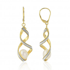 9ct Yellow Gold Glitter Pearl Drop Earrings