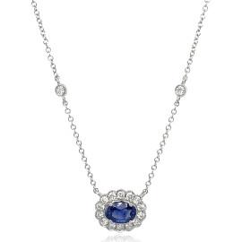 9ct White Gold Diamond Oval Scallop Sapphire Necklace