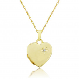 9ct Yellow Gold Diamond Heart Locket Necklace