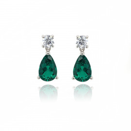 9ct White Gold Cubic Zirconia & Created Emerald Earring