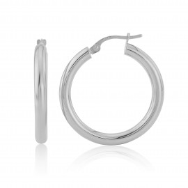 9ct White Gold Tube Hoop Earrings (Medium)