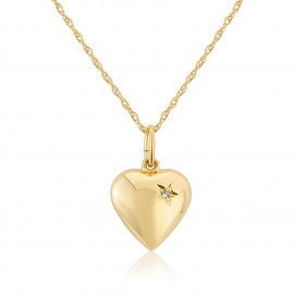 9ct Yellow Gold Diamond Puff Heart Pendant Necklace