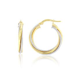 9ct Yellow & White Textured Twist Hoop Earrings